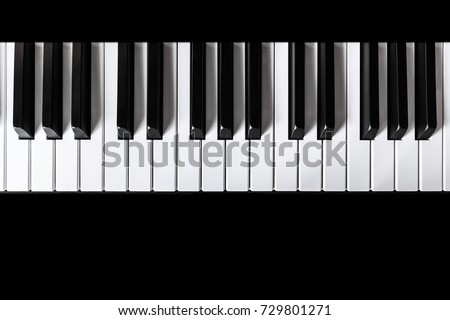 Piano and Piano keyboard with black backgrounds. #729801271