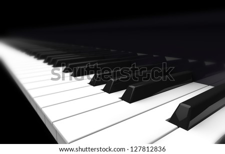 piano, blurred perspective on black background - stock photo
