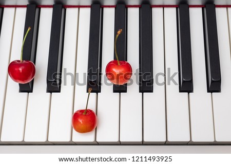 Piano chord C#/Db shown by cherries on the key