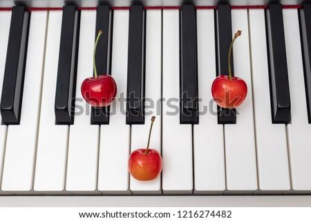 Piano chord G#m (G sharp minor) / Abm (A flat minor) shown by cherries on the key #1216274482