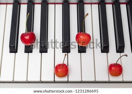 Piano chord shown by cherries on the key - Major Seventh series - G#M7 (G sharp Major seventh) / AbM7 (A flat Major seventh) #1231286695