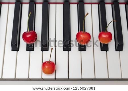 Piano chord shown by cherries on the key - Minor Seventh series - G#m7 (G sharp minor seventh) / Abm7 (A flat minor seventh) #1236029881