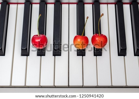 Piano chord shown by cherries on the key - sus4 series - G#sus4 (G sharp suspended fourth) / Absus4 (A flat suspended fourth) #1250941420