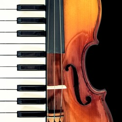 piano & classical violin, isolated on black for music background