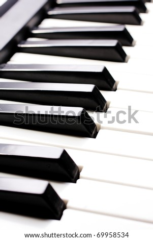 piano close up on the keyboard