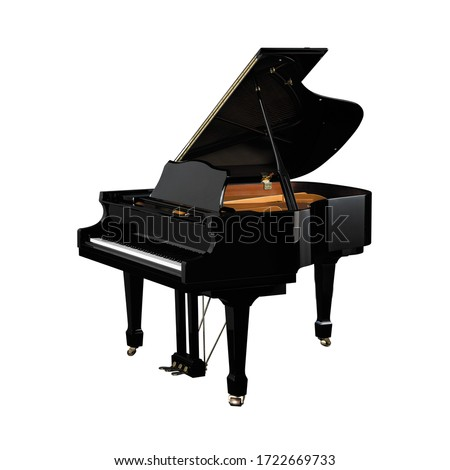 Piano, Grand Piano Percussion Music Instrument Isolated on White background 3D rendering Foto d'archivio ©
