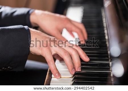 Piano, Human Hand, Piano Key.