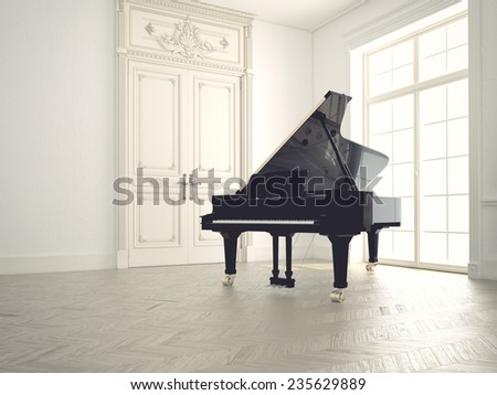 piano in a n empty classic  room. 3d rendering