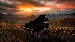 Piano in nature at sunset. Arte e instrumentos musicales.