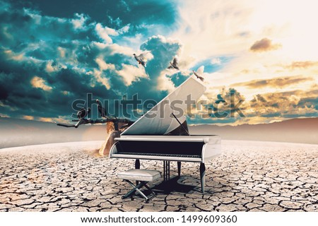 Piano in nature..Surreal image related to piano music,song and melody.Sunset and dry soil scenic landscape.Birds and cracked floor