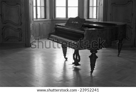 piano in old castle