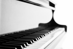 Piano keyboard background with selective focus - vintage filter