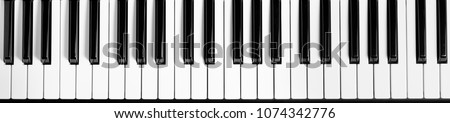 Piano keyboard. Flat top view. Horizontal photo #1074342776