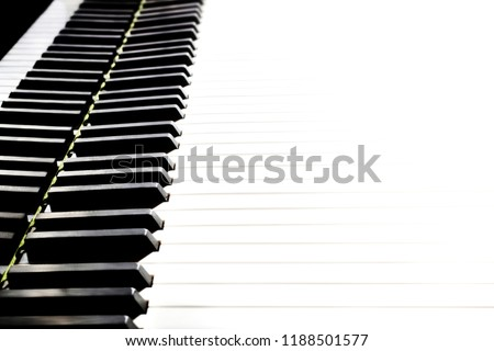 Piano keyboard. Grand piano keys closeup. Classical music instrument close up isolated on white background #1188501577