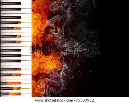 Piano Keyboard in Fire on Black Background. Computer Graphics.
