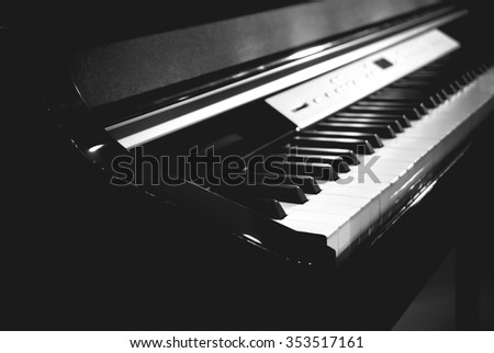 Piano keyboard on focus at first white piano key black and white