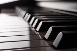 Piano keyboard side view