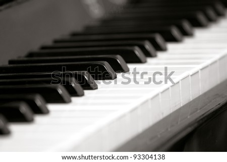 Piano keyboard with selective focus, frame