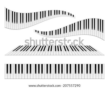 Piano keyboards illustrations. Various angles and views