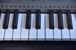 Piano keybord image.Fancy keybord.Flower on a piano keybord.Black and white keybord