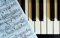 piano keys and musical notes closeup