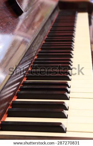 piano keys and wood grain of classic piano