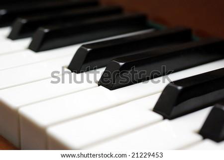 Piano keys close up photo. Selective focus. - stock photo