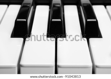 piano keys, closeup.