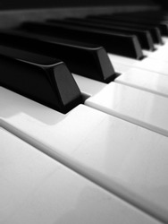Piano keys detail in black and white
