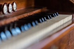 Piano keys from old piano close up