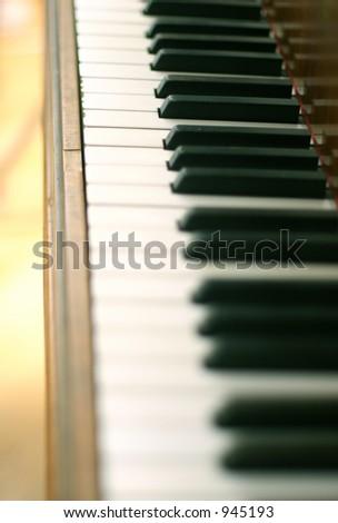 Piano keys on an old piano - short depth of field