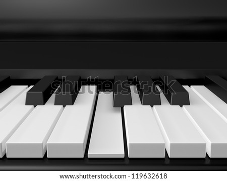 Piano keys on black grand piano and one key pressed, front view.
