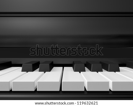Piano keys on black grand piano, front view.
