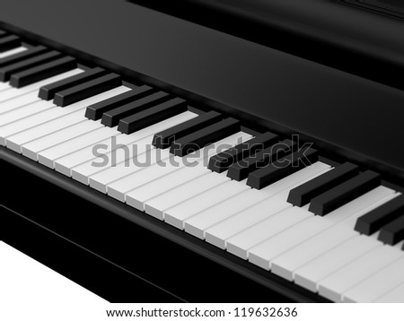 Piano keys on black grand piano with depth of field.