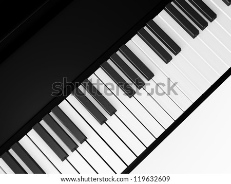 Piano keys on grand piano, top view, isolated on white background.