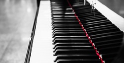 Piano keys, with red line
