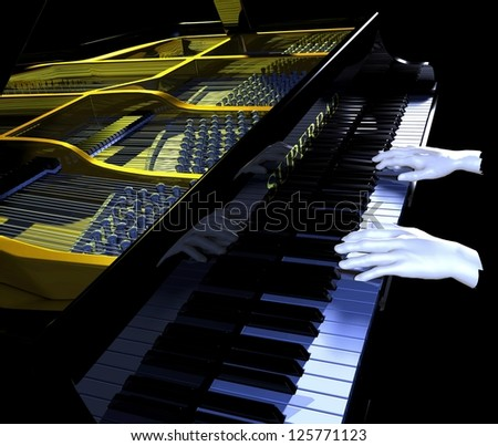 Piano modeled in three dimensional graphics with hands playing.  Zoomed to give slight abstract effect.