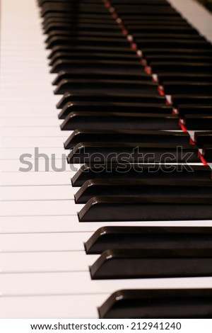 Piano music instrument in black and white