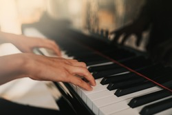 Piano music pianist hands playing. Musical instrument grand piano details with performer hand on white background.