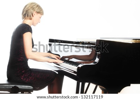 Piano playing pianist player. Woman with classical musical instrument grand piano