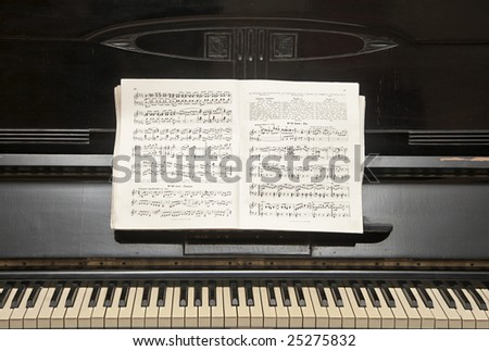 piano sheet music and close-up