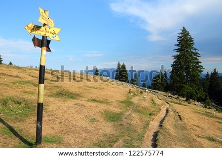 Piatra Craiului National Park in Romania - hiking trail to Piatra Mica in Southern Carpathians.
