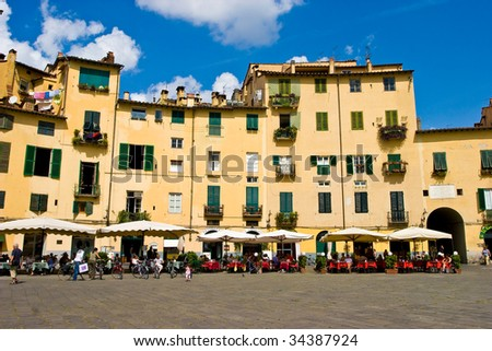 Piazza Anfiteatro square in Lucca Tuscany Italy