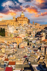 Piazza Armerina in the Enna province of Sicily in Italy. Piazza Armerina cityscape with the Cathedral SS. Assunta and old town, Sicily, Piazza Armerina, Province of Enna, Sicily, Italy, Europe.