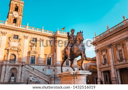 Piazza del Campidoglio in Rome, Italy, on the Capitolium hill, with the equestrian statue of the Roman emperor Marcus Aurelius, the Town Hall building and the Capitoline Museums in the background, the