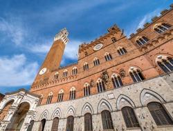 Piazza del Campo, Palazzo Pubblico, La Torre del Mangia, 102 m. Siena, Tuscany, Italy, Europe