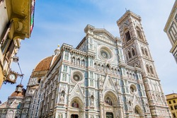 Piazza del Duomo, Cathedral Square in historic center of Florence Tuscany Italy, Florence Cathedral with the Cupola del Brunelleschi, Giotto's Campanile, Florence Baptistery, Loggia del Bigallo