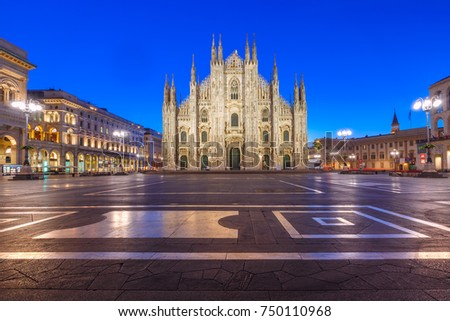 Piazza del Duomo, Cathedral Square, with Milan Cathedral or Duomo di Milano, Galleria Vittorio Emanuele II and Arengario, during morning blue hour, Milan, Lombardia, Italy #750110968