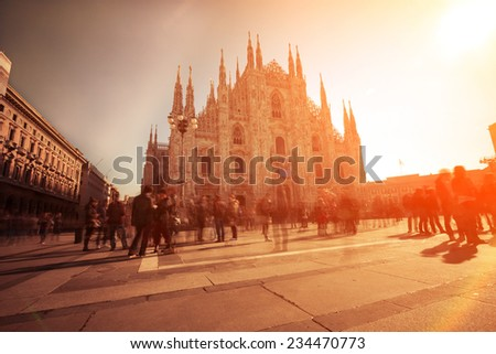 Piazza del Duomo of Milan, using nd filter to allow longer exposures. The photo has been taken during iStockalypse 2011 in Milan
