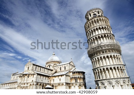 Piazza del Duomo (Piazza dei Miracoli) with famous landmarks of Pisa - Duomo cathedral and leaning tower. It is UNESCO World Heritage Site.